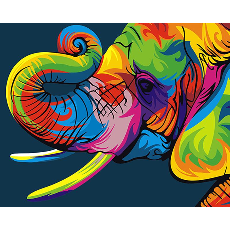 Malen Nach Zahlen Bunter Elefant