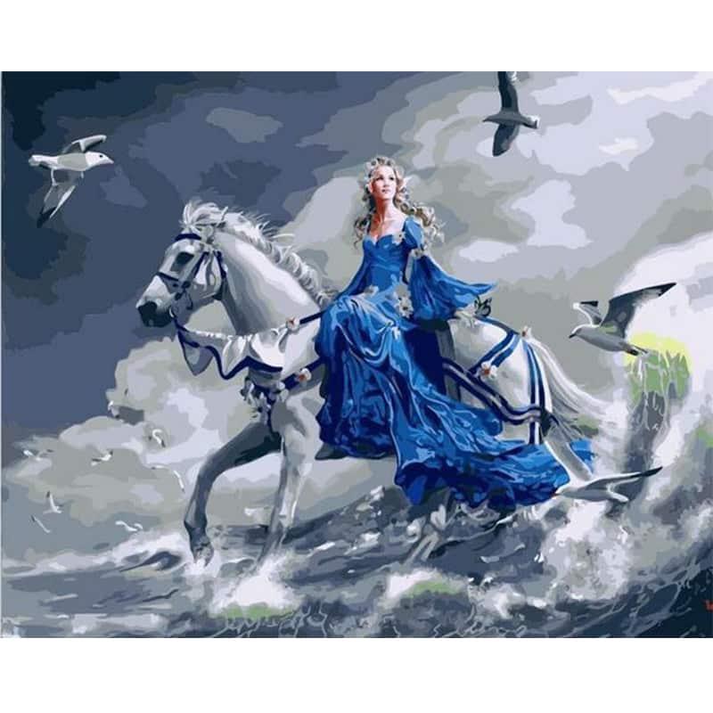 malen nach zahlen  prinzessin auf pferd  malen nach